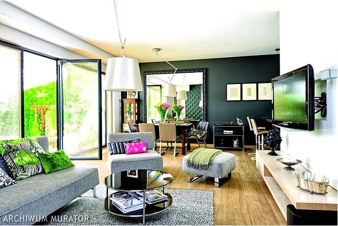 Гостиная антрацитового цвета в стиле эклектика, не бойтесь серого!