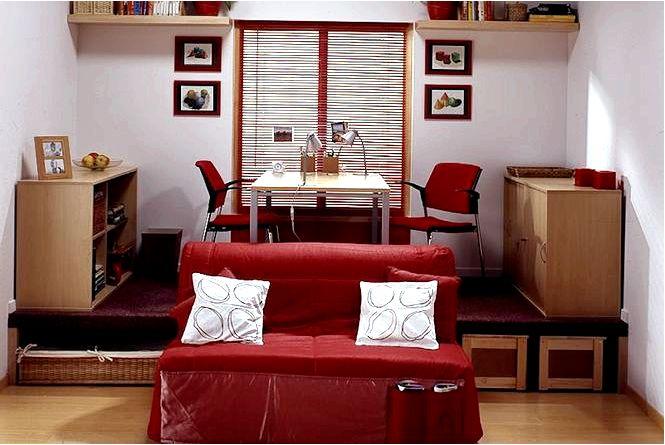 Обустройство небольшой гостиной, площадки в комнате