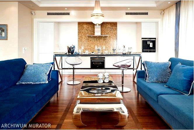 Дизайн интерьера квартиры в стиле нью-йорк в синем цвете