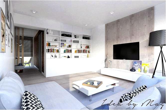 Дизайн интерьера маленькой квартиры с деревом и кирпичом на стене!