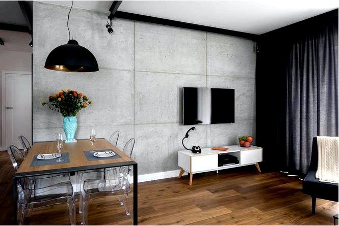 Дизайн интерьера гостиной с кухней в индустриальном стиле с сотовым рисунком на заднем плане!