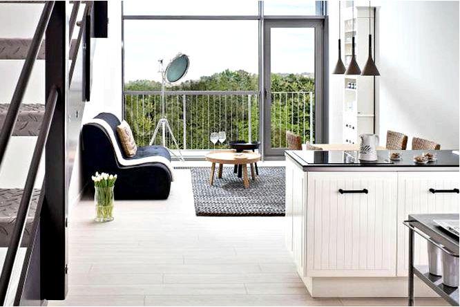 Внутреннее устройство гостиной с кухней