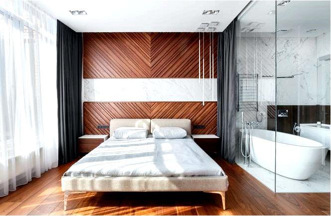 Ванная, открытая в спальню — эффектные аранжировки, мебель, аксессуары