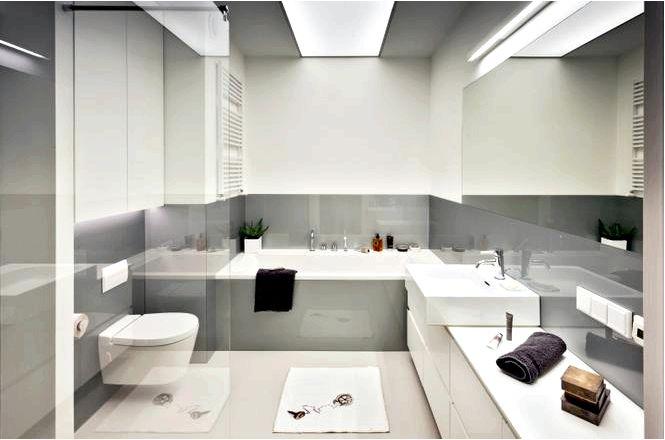Асиенка серо-белое аскетичное оформление ванной комнаты