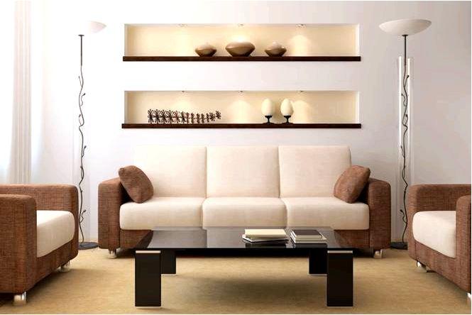 Бежевый цвет в оформлении гостиной, сочетающийся с бежевым цветом стен фото