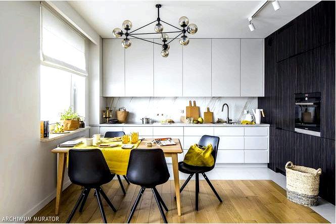 Белая кухня с темным шпоном дизайн интерьера для активных людей