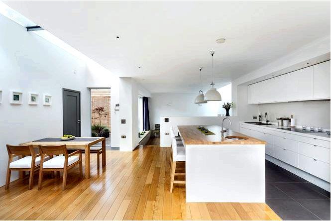 Белая кухня с островом.современный интерьер односемейного дома