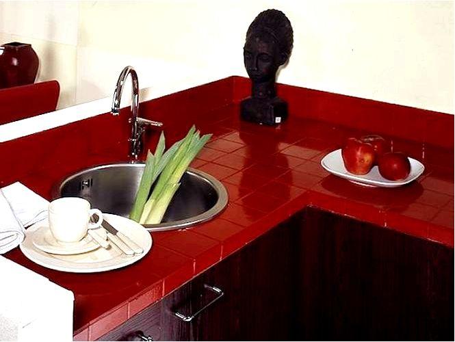 Кухонная столешница из керамической плитки