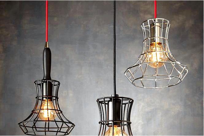 Промышленное освещение в стиле loft, необработанный каркас, стекло и теплые лампочки