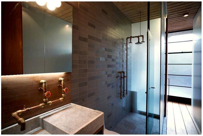 Пять смесителей для ванной комнаты в индустриальном стиле
